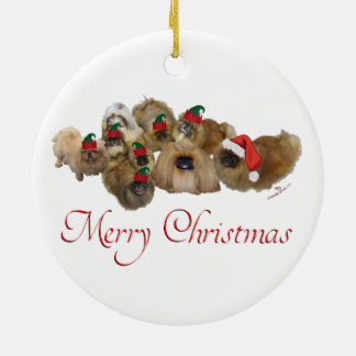 Ornement Rond En Céramique Noël de groupe de Pekingese