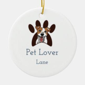 Ornement Rond En Céramique Noël de logo de chien