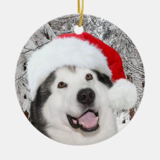 Ornement Rond En Céramique Noël de Malamute d'Alaska