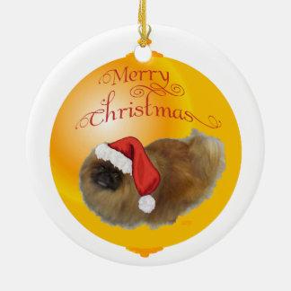 Ornement Rond En Céramique Noël de Pekingese