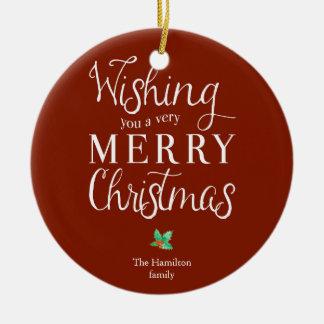 Ornement Rond En Céramique Noël de photo de typographie Joyeux