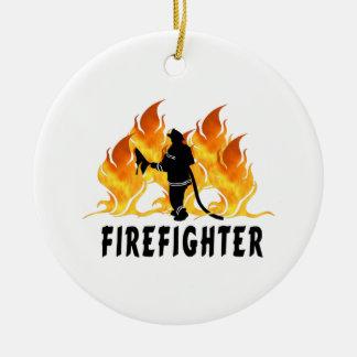 Ornement Rond En Céramique Noël de sapeur-pompier