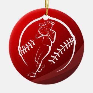 Ornement Rond En Céramique Noël du base-ball