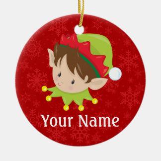 Ornement Rond En Céramique Noël Elf personnalisé