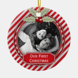 Ornement Rond En Céramique Noël ensemble | de houx de rayure de sucre de