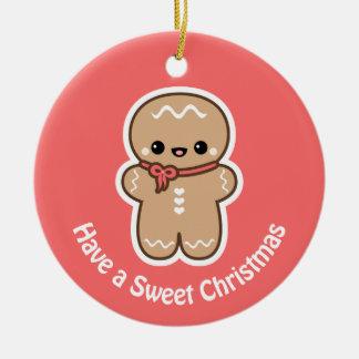 Ornement Rond En Céramique Noël mignon de biscuit de pain d'épice