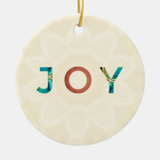 Ornement Rond En Céramique Noël moderne 'Joy d'arrière - plan crème