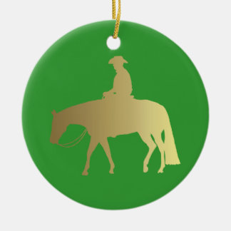 Ornement Rond En Céramique Noël occidental d'or de vert de cheval de plaisir