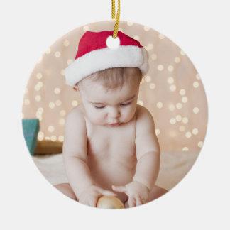 Ornement Rond En Céramique Noël personnalisé de coutume de photo et de textes