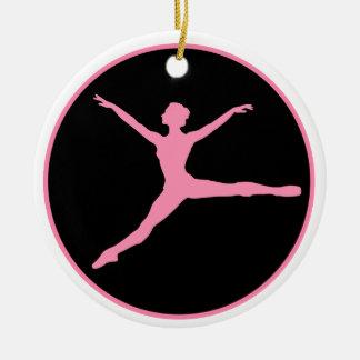 Ornement Rond En Céramique Noël personnalisé par danseur noir rose