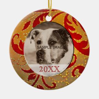 Ornement Rond En Céramique Noël rouge d'or de photo d'animal familier
