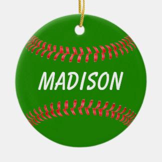 Ornement Rond En Céramique Noël vert et rouge colore l'ornement du base-ball