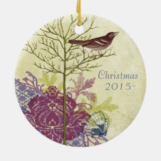Ornement Rond En Céramique Noël vintage d'oiseau de prune couple l'ornement