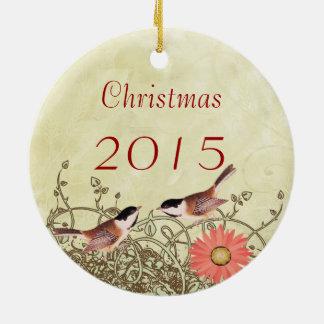 Ornement Rond En Céramique Noël vintage d'oiseaux couple l'ornement de photo