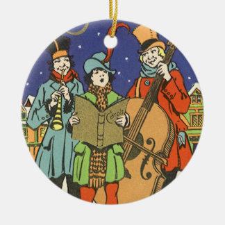 Ornement Rond En Céramique Noël vintage, musiciens Caroling avec la musique