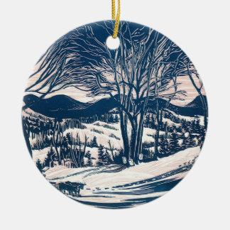 Ornement Rond En Céramique Noël vintage, paysage de montagne d'hiver