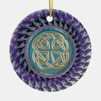 Ornement Rond En Céramique Noeud celtique de platine sur la fractale en