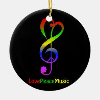 Ornement Rond En Céramique Noir hippie de clef triple de musique de paix
