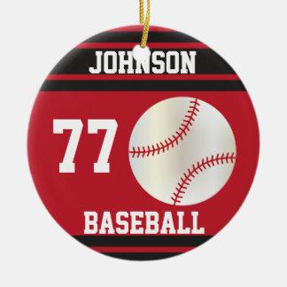 Ornement Rond En Céramique Nom et nombre rouge foncé et noirs du base-ball |
