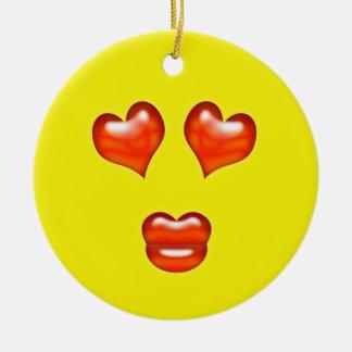 Ornement Rond En Céramique Nom jaune de coutume d'Emoji d'amour