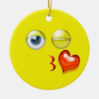 Ornement Rond En Céramique Nom jaune de coutume d'Emoji de baiser