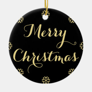 Ornement Rond En Céramique Nom noir de coutume de Joyeux Noël de neige d'or