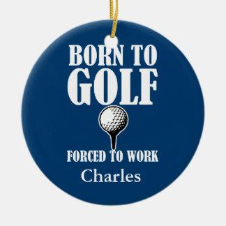 Ornement Rond En Céramique Nommé fait sur commande porté pour jouer au golf