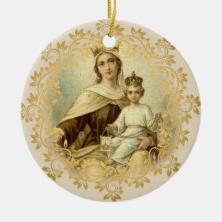 Ornement Rond En Céramique Notre Madame de bébé Jésus du mont Carmel omoplate