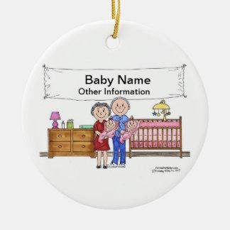 Ornement Rond En Céramique Nouveau bébé, jumeaux - filles