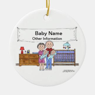 Ornement Rond En Céramique Nouveau bébé, jumeaux - garçons