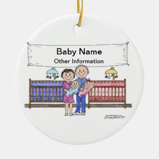 Ornement Rond En Céramique Nouveaux bébé, jumeaux - fille et garçon