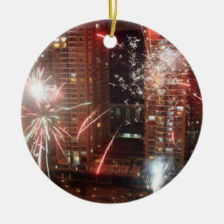 Ornement Rond En Céramique Nouvel an : feu d'artifice -
