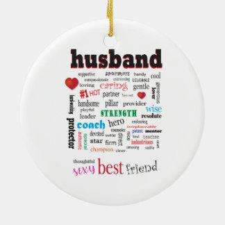 Ornement Rond En Céramique Nuage aimant et de soin de mot de mari