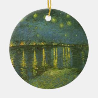Ornement Rond En Céramique Nuit étoilée au-dessus du Rhône par Vincent van
