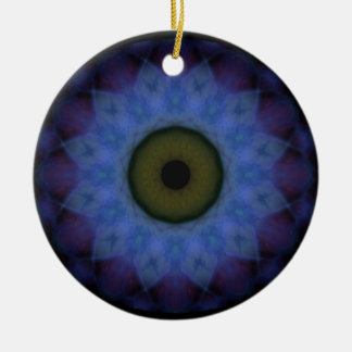 Ornement Rond En Céramique Oeil mauvais bleu violet d'horreur