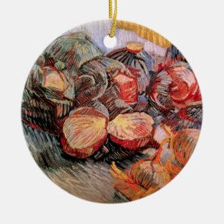 Ornement Rond En Céramique Oignons de choux rouges de Van Gogh, de cru