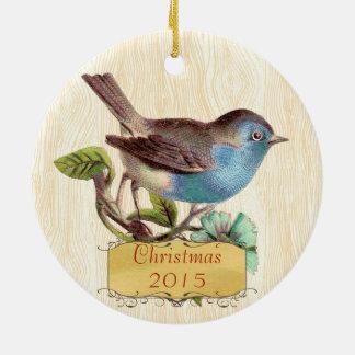 Ornement Rond En Céramique Oiseau bleu de cru de photo de famille de Noël