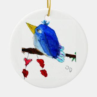 Ornement Rond En Céramique Oiseau bleu d'ornement de bonheur