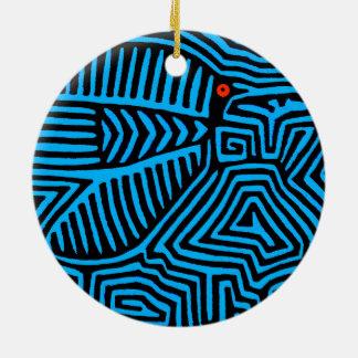 Ornement Rond En Céramique Oiseau bleu indien de Kuna