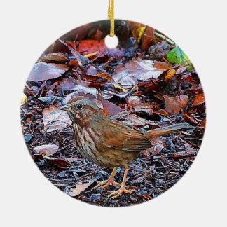 Ornement Rond En Céramique Oiseau de Noël