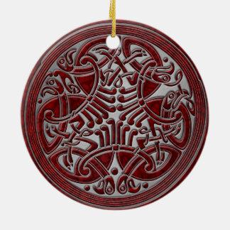 Ornement Rond En Céramique Oiseaux de noeud celtique et argent rouges -