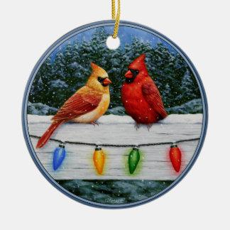 Ornement Rond En Céramique Oiseaux et lumières de Noël cardinaux