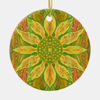 Ornement Rond En Céramique Orange florale de Bohème de vert jaune d'art de