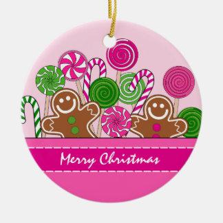 Ornement Rond En Céramique Pains d'épice roses mignons de Noël