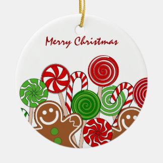 Ornement Rond En Céramique Pains d'épice rouges à la mode de Noël