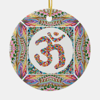 Ornement Rond En Céramique Paix d'Indien de yoga d'hindouisme d'OmMantra