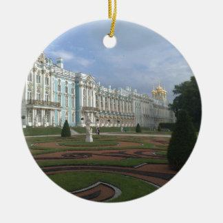 Ornement Rond En Céramique Palais St Petersburg, Russie d'hiver