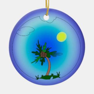 Ornement Rond En Céramique palmier