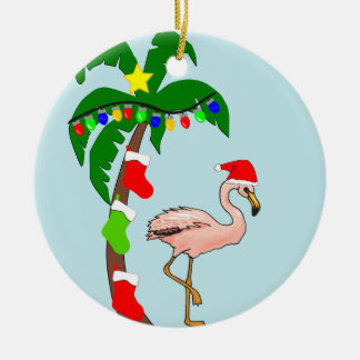 Ornement Rond En Céramique Palmier et Noël tropical de flamants