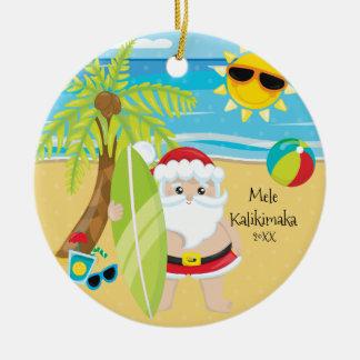 Ornement Rond En Céramique Palmier surfant Noël de Hawaïen de Père Noël